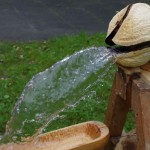 Holz-Wasserspeier